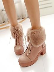 レースアップより多くの色を持つ丸いつま先分厚いヒールアンクルブーツが使用可能に婦人靴