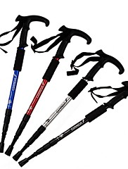 4つのセクションを減衰、高品質のアルミストレートハンドル登山杖