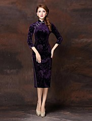 YIMILAN® Women's Retro Elegant Temperament Split Sexy High-Grade Velvet Flocking Cheongsam Dress