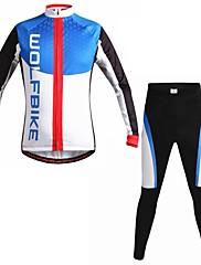 男性の秋と冬のマウンテンバイク通気性の服セット長袖サイクリングスーツwolfbike