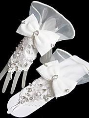 Magnifiques gants de mariée en tulle et cristaux