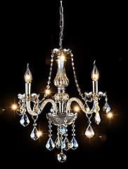 3 Lights,Mini Crystal Chandelier In Cognac Color , Glass & Crystal