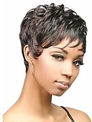 キャップレスミックスカラーサイド強打と余分な短い高品質の天然巻き毛の合成かつら