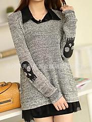 WMSの女性の新しい韓国の頭蓋骨ツーピースのスーツのセーター