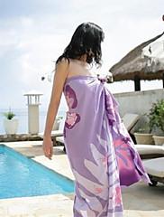 女性のファッション紫色のプリントシフォンスカーフサロンビキニ水着水着ビーチカバーアップ