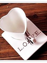 """5.5セラミックカップのコースターと繊細なセラミックカップコーヒーの愛カップ状 """"* 3.9"""" 3.2 """""""