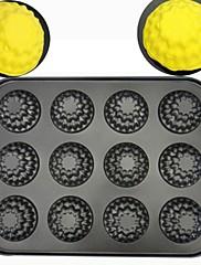 ケーキパンタルト用耐熱皿高品質炭素鋼12ホールの花の形のベーキング金型