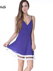 NUO WEI SI ®  Women's Fashion V Neck Solid Color Dress