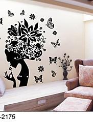 klasické černé Květinová víla samolepky na zeď pro dívky pokojů zooyoo2175 Parede odnímatelné PVC Lepicí obraz na stěnu