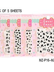balení 5 listů 3d černá obtisky na nehty nálepka MZ-p16-20