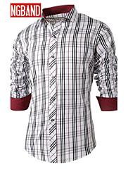 男性用 長袖 シャツ , コットン混 カジュアル/オフィス プレイド&チェック