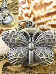 女性用 懐中時計 クォーツ 合金 バンド 蝶型 ブロンズ ゴールデン