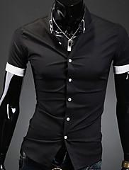 Pánské Jednobarevné Denní nošení / Pracovní / Formální Krátký rukáv Polyester Košile Černá / Bílá
