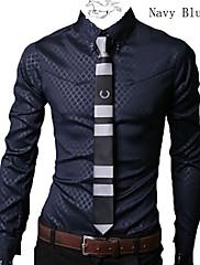 男性用 プリント / ストライプ / チェック カジュアル / オフィス / フォーマル / プラスサイズ シャツ,長袖 コットン混 ブラック / ブルー / ホワイト