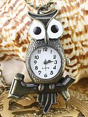 女性のフクロウパターン合金アナログクオーツのネックレスと懐中時計