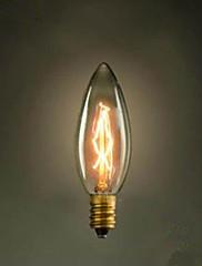 レトロな光源をネジVエジソン尖ったバブル小さな黄色の電球E14 220を燃やすC35