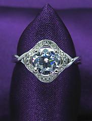 samice classic platinovaného 925 mincovní stříbro, zirkony angažovanost, kytkou tvar snubní prsten