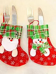 クリスマスディナーテーブルパーティの装飾(1枚、ランダムカラー)用のナイフフォークの布カバーのサンタの棒付きキャンディーソックス
