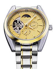 クラシックメンズトゥールビヨン自動機械式5手のスチールベルトスポーツ軍の腕時計