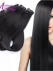レミースキン横糸ブラジル人毛エクステンション100%、ブラジルのバージンレミー人間の髪の毛のストレートで100グラム5aのテープ