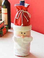 サンタクロースはクリスマスの食卓のパーティーの装飾(1枚)のためにワインボトル布カバーで髭