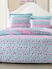 青色ストライプ印刷パターン4PCの布団カバーセット、ファッション寝具、フルクイーンサイズ