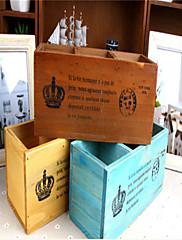 レトロ古い木のデスクトップ化粧品収納ボックス木製ペンリモートストレージボックス
