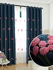 2パネル ウィンドウトリートメント 新古典主義 ベッドルーム リネン/ポリエステル混 材料 遮光カーテンドレープ ホームデコレーション For 窓