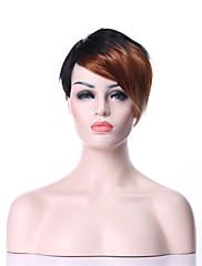 stylový krátký rovný mix-clolor (black & blond) syntetické vlasy, paruky