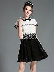 aofuli ženy velké plus size korálek výšivky krajky dutý patchwork falešné dvoudílné šaty s krátkým rukávem