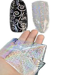 1ks 100 * 4cm transparentní laser nail art přenosu třpytky samolepky kutilství geometrické mince květ obraz hřebík krása lt01-04