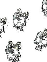 10ks stříbrný punková lebka s kamínky 3D motýlkem nail art dekorace