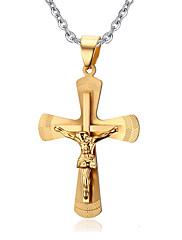 Pánské Náhrdelníky s přívěšky Přívěšky vrstvené Náhrdelníky Cross Shape Titanová ocel Haç Dvojitá vrstva Zlatá Šperky Pro Denní Ležérní