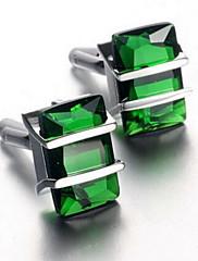 メンズファッション緑色の水晶銀合金フレンチシャツカフス(1ペア)