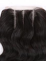 10-24 Inch #1B Glueless Vlnité Lidské vlasy Uzavření Světle hnědá / Středně hnědá / Tmavě hnědá Švýcarská krajka 45 gram Střední velikost