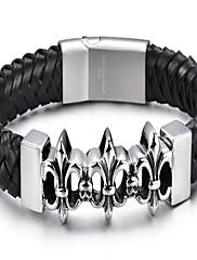kalen®bracelet kožený náramek kůže cross módy denně / náhodný dárek šperky černá, 1ks