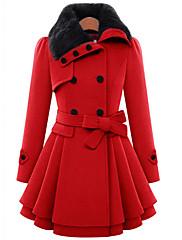 Mujer Bonito Casual/Diario Un Color Abrigo,Cuello Camisero Manga Larga Invierno Lana / Algodón Rojo / Marrón Grueso