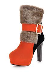 女性-アウトドア オフィス カジュアル-レザーレット-チャンキーヒール-ファッションブーツ クラブシューズ 靴を点灯-ブーツ-ブラック グリーン オレンジ