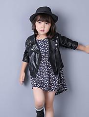 女の子の カジュアル/普段着 ゼブラプリント PU,ジャケット&コート 秋 ブラック