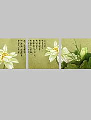ハングアップする準備ができてダイニングルームのインテリアのための視覚star®3パネル中国絵画の睡蓮の花キャンバスの壁の芸術