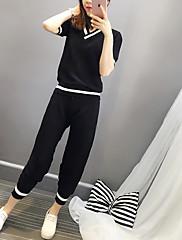 女性 お出かけ 夏 セット パンツ,シンプル Vネック ソリッド ブルー / ブラック / グリーン その他 半袖 ミディアム