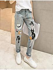 Damer Enkel Elastisk Tynde Skinny Jeans Bukser,Alm. taljede Ensfarvet