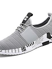 Herrer Sneakers Komfort Lysende såler Tyl PU Forår Efterår Afslappet Komfort Lysende såler Snøring Sort Grå Sort/Hvid Flad
