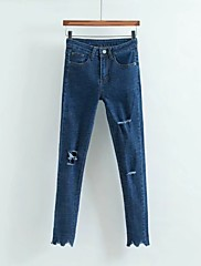 Feminino Moda de Rua Cintura Alta Micro-Elástica Jeans Calças,Skinny Sólido,rasgado