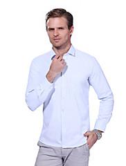 Masculino Camisa Social Casual Tamanhos Grandes Simples Primavera Outono,Sólido Algodão Poliéster Decote Quadrado Manga Longa Média