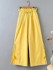 Feminino Moda de Rua Cintura Média Micro-Elástica Perna larga Calças,Solto Perna larga Sólido
