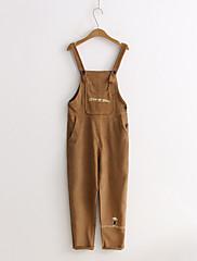 Feminino Moda de Rua Cintura Média Micro-Elástica macacão Calças,Solto Sólido Bordado