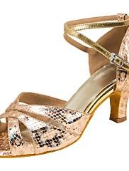 Damer Latin Syntetisk læder Sandaler Optræden Kryds & Tværs Cubanske hæle Guld Sølv 5 - 6,8 cm Kan tilpasses