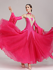 Standardní tance Šaty Dámské Taneční vystoupení Polyester Spandex 4 kusy Bez rukávů Šaty Rukáv Neckwear