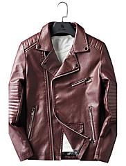 Masculino Jaquetas de Couro Casual Vintage Inverno,Sólido Padrão Poliuretano Colarinho de Camisa Manga Longa